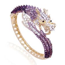 Fashion Dragon Loong Animal Bangle Cuff Purple Austrian Crystal Gold Tone Women