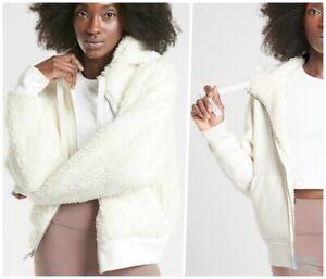 ATHLETA Cozy Sherpa Reversible Jacket XS Sea Salt White | SOFT & Warm Coat NWT