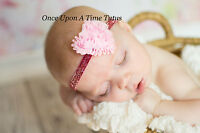 Pink Heart Hairbow Valentines Day Newborn Baby Girl Size Headband Hair Bow