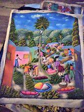 "Haiti Painting Canvas signed  24"" x 20"" Unframed people trees"