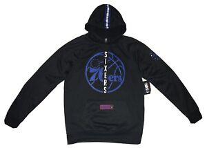 NWT Mens NBA Philadelphia 76ers Black Silky Pullover Sweatshirt Hoodie - size M