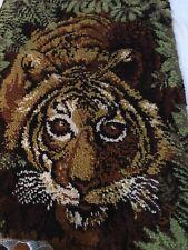 Bengal Tiger Wall Throw Rug Kit Vintage 100% Mothproof Yawn 90% Complete 60 x 36