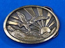 Vintage? Eagle hunting claws out over Mountain Sunrise Belt Buckle