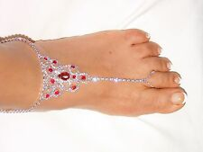 SILVER RED RUBY RHINESTONE BAREFOOT ANKLET SANDAL WEDDING BELLY DANCE JEWELRY