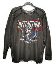 Affliction Reversible Long Sleeve Thermal Shirt American Customs Skull USA XXL