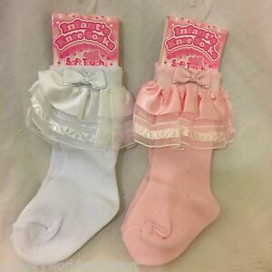 baby babies girls frilly knee length long socks white pink cotton rich
