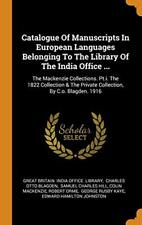 Catalogue Of Manuscripts In European Languages , Library, Blagden, H Hb-,