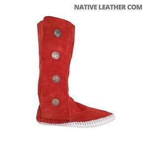 """TAOS """"Indian Maid"""" Rust Womens 4 Button Soft Sole Moccasins with Fastener 3100W"""