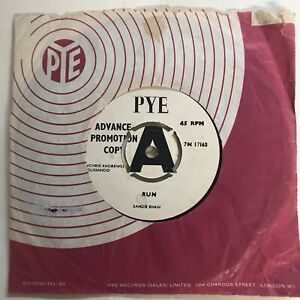 SANDIE SHAW - RUN b/w LONG WALK HOME, 1966 PYE 7N 17163, 4 POINT PROMO DEMO RARE