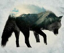 The Mountain Wolf Silhoulette Landscape Unisex Adult T Shirt, XL,Gray