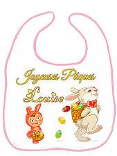 Bavoir bébé fille joyeuses pâques personnalisé avec prénom réf F21