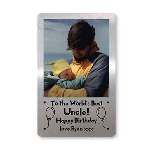 PERSONALISED Photo Metal Wallet Card Novelty Birthday Gift For Uncle Keepsake