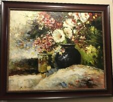 R.Stevens Impressionistic Style Still Life Floral Canvas Oil Painting Signed