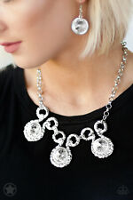 Paparazzi jewelry oversized rhinestones silver rings Necklace w/earring