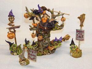Harmony Kingdom Artist Neil Eyre Designs Halloween Witch Pumpkin Cat Tree Frog