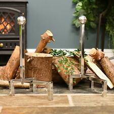 Contemporary Polished Steel Fire Dogs