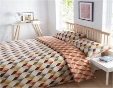Reversible Multicolour Geometric Cube Print Super King Duvet Quilt Cover Bed Set