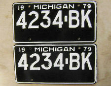 1979 MICHIGAN LICENSE PLATE # 4234-BK  PAIR UNUSED