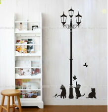 Cats & Lamp Post Adhesive Wall Art Decor Sticker Mural Paper Peel & Stick