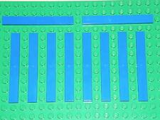 LEGO 10 x BLUE FLAT TILES BRICKS 1 x 8   No 4162 CITY-STAR WARS-ELVES-FRIENDS