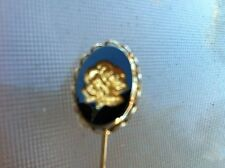 Cameo Rose Flower Glass Black Goldtone Hat Pin