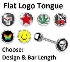 Flat Logo Tongue Bar - Choose: Skull Star Leaf Cherry - 10mm 12mm 14mm 16mm 19mm