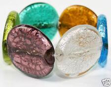 AMBER,GREEN,PURPLE CHUNKY MURANO foil GLASS BRACELET
