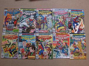 "Lot 9 Comics VO import USA""THE AMAZING SPIDER-MAN""MARVEL1976(STAN LEE,BUSCEMA.."