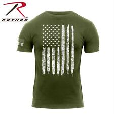 Patriotic Athletic Fit Distressed USA US Flag Mens T-shirt Olive Rothco 2832 S