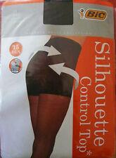 Collant BIC Gainant VENTRE PLAT NOIR gousset coton  15 deniers taille 1,  2,  3