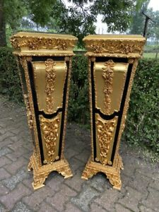 French Louis XVI wooden Pedestal/Colums in Gold and Black With Marble Top