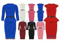 Kylie Womens Peplum Dress Ladies Frill Shift Top Midi Belted Bodycon Dresses UK
