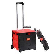 Flat Folding 25kg/44lbs Bearable Cart Handcart w/ Retractable Handle Lid 2 Wheel