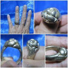 Size 9 Ancient Silver Muzzle Ring LP Sai Thai Holy Amulet A19-9A