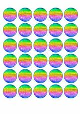 30 Disco Ball Edible Paper Cupcake Cup Cake Decoration Image