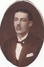 1925 Handsome young man with mustache fashion gay interest Russian antique photo
