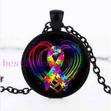 Autism Ribbon on Heart Photo Cabochon Glass Black Chain Pendant Necklace