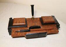 antique handmade bakelite wood mid century modern dual inkwell writing stand pen