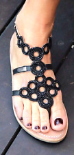 LES TROPEZIENNES Sandals with Black Beads Size 7.5 us = 38 Europ BRAND NEW