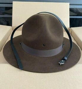 Stratton Felt Campaign Hat Brown NEW in BOX w/Hat Band & Chin Strap - Many sizes