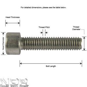 M8 Socket Cap Screws/Bolts - A2 Stainless Steel Allen Hex Head 8mmØ ALL LENGTHS