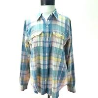 CHAPS Linen Blend Plaid Shirt Pink Blue White Green Yellow Button Women's M $65