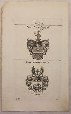 Kupferstich Wappen Familie Von Landgraff & Von Lauenstein 1825 Heraldik Bayern
