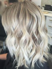 New Gorgeous Women Medium Long Blonde Wavy Curly Human Hair Wigs