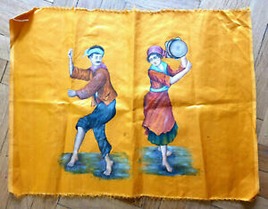 19TH CENTURY PAINTING ON SILK CHIOS GREEK COUPLE DANCING.