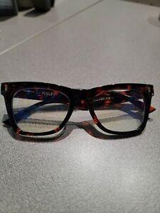 Womens Tortoise Shell Trendy Blue Light Free People I-Sea Glasses NWOT