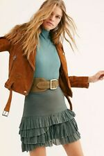Free People FP One Maura Ruffle Skirt High Waist Green Tiered Cotton Mini XS New