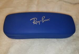 Ray-Ban Glass Case Hard Snap Clam Shell BLUE Leather Red Liner