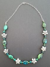 Chrysocolla Bead Sterling 925 Silver Necklace