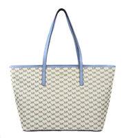 Michael Kors Women's Large Natural Blue MK Print Emry Tote Purse Bag Handbag